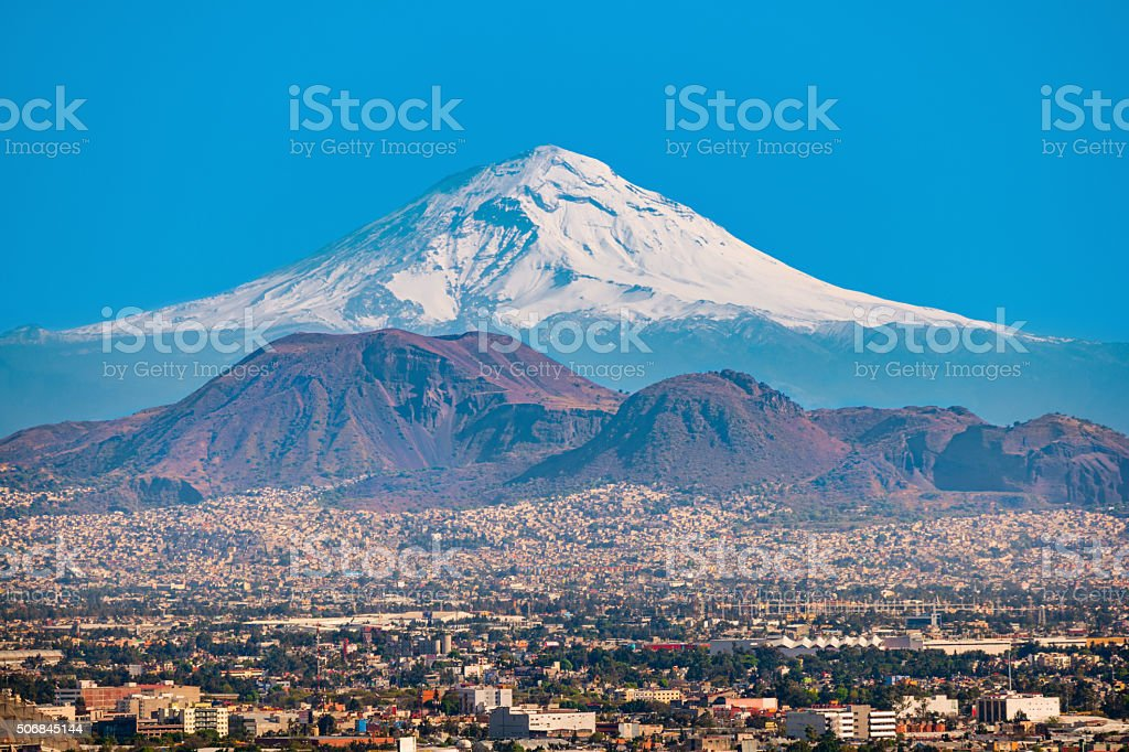 Popocatepetl Volcano and Mexico City stock photo