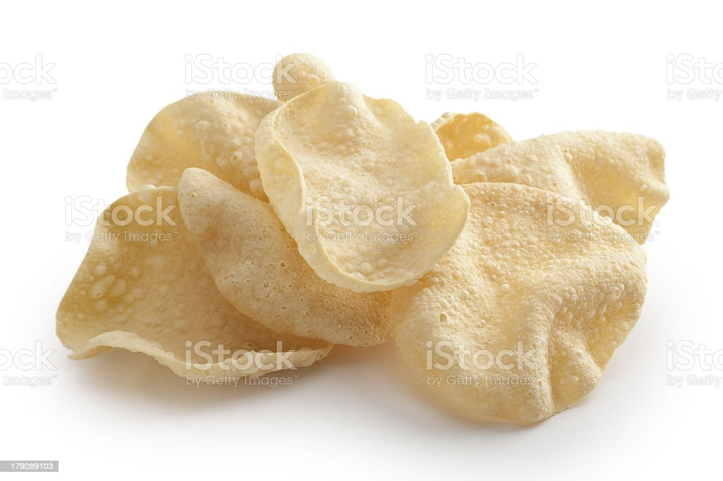 Poppadums Indian Meal Food Cuisine Curry Pile stock photo