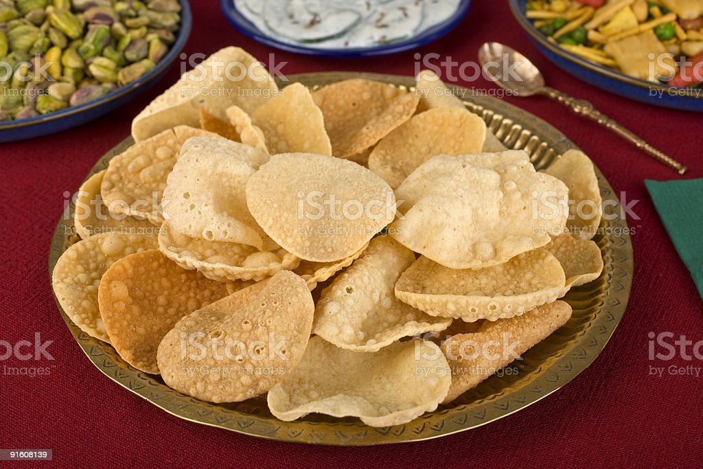 Poppadums Indian Style Party Snacks or Appetizers stock photo