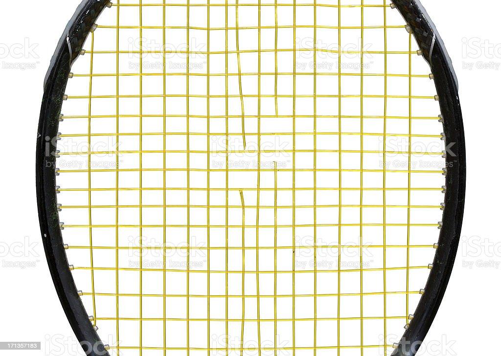 popped tennis racket strings stock photo