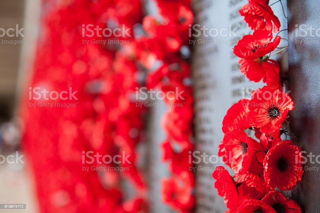 Poppies on a War Memorial stock photo