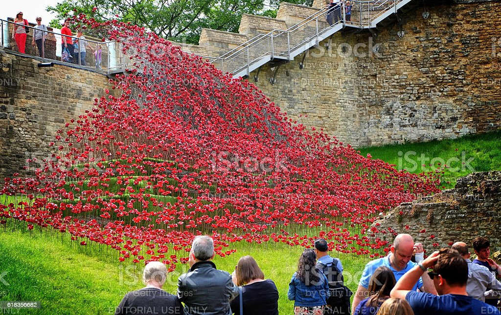 Poppies Wave art installation at Lincoln Castle, England stock photo