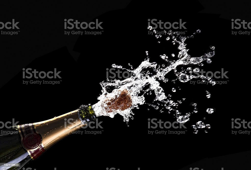 popping champagne cork stock photo