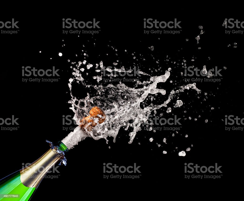popping champagne stock photo