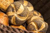 poppy buns in a bakery