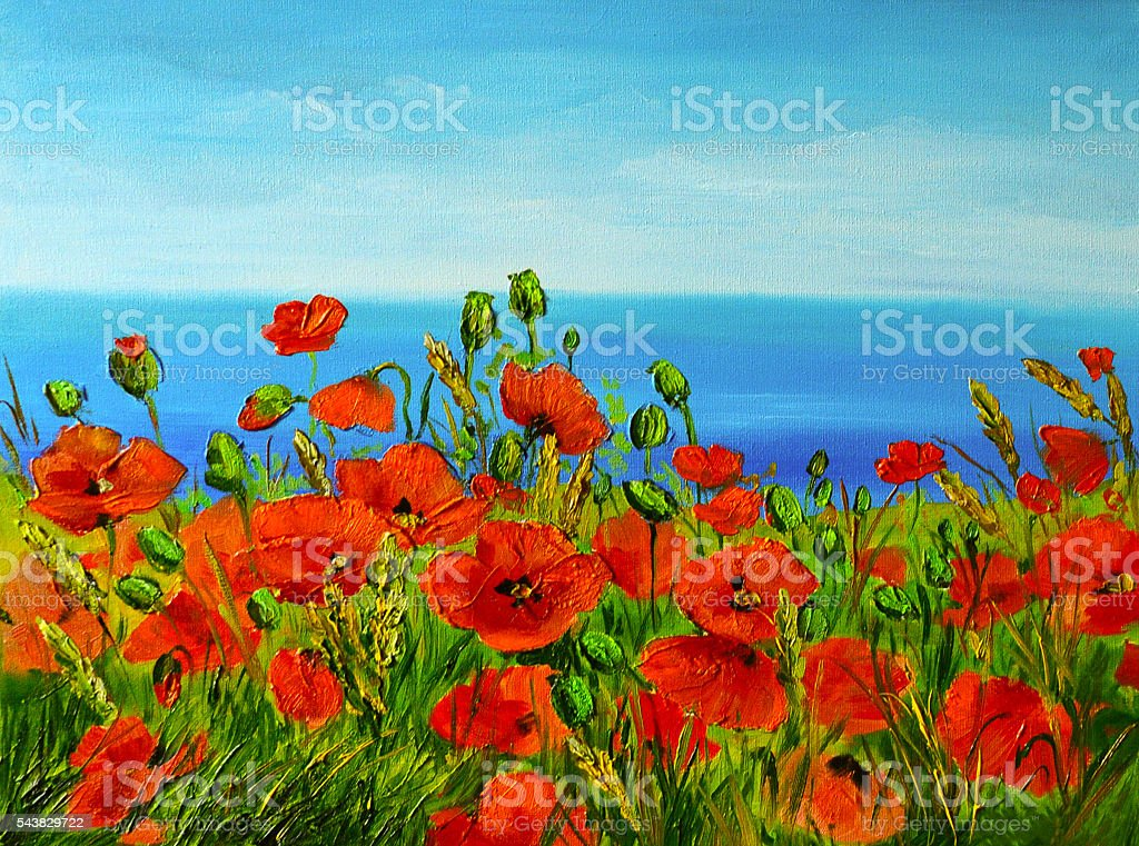 poppy field near the sea, colorful coast, art oil painting stock photo