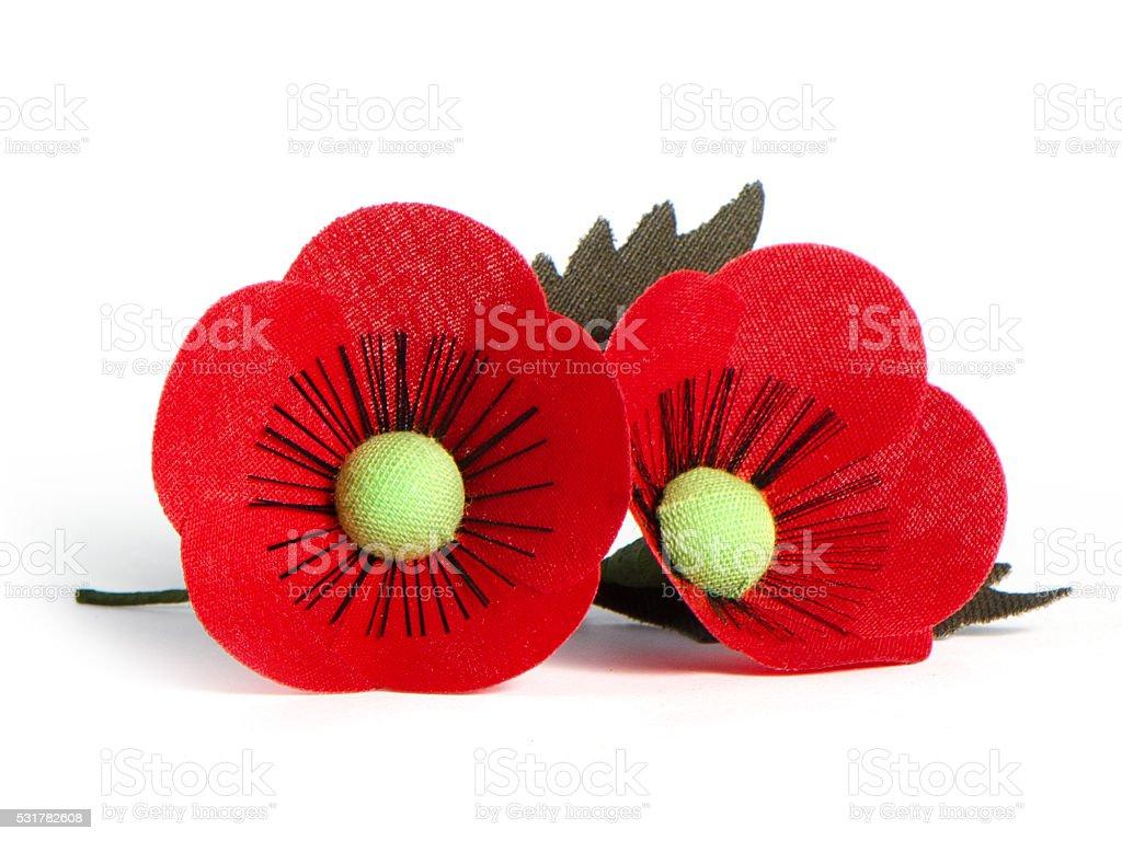 Poppy flower made from febric stock photo