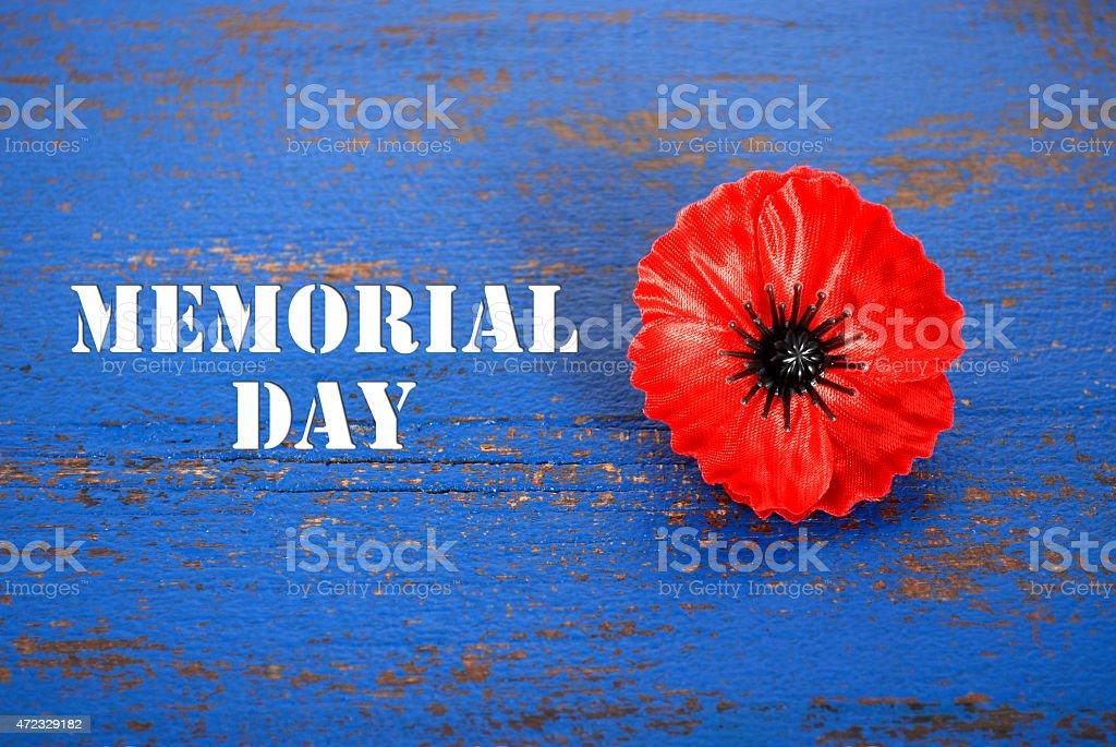 Poppy on memorial day background stock photo