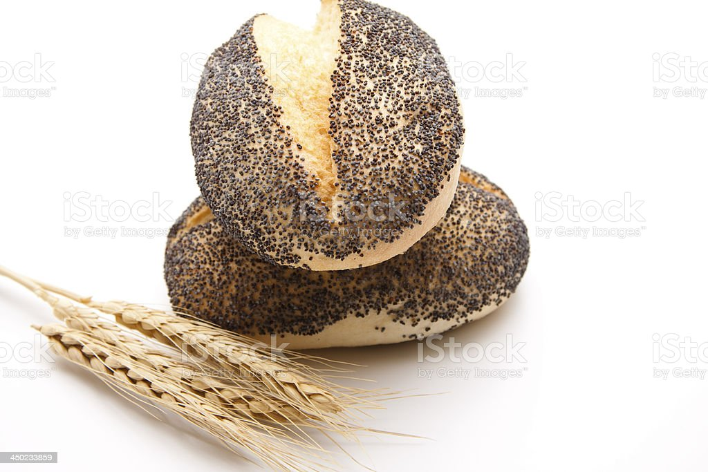 Poppy seed bread roll stock photo