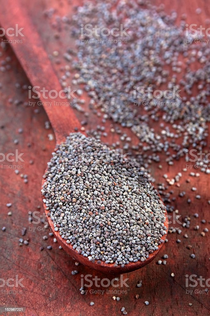 Poppy seed in wood spoon stock photo