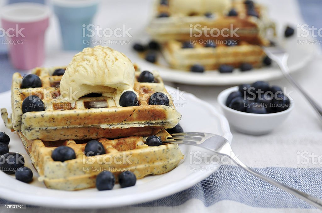 Poppy Seed Waffles with ice cream and blueberries royalty-free stock photo