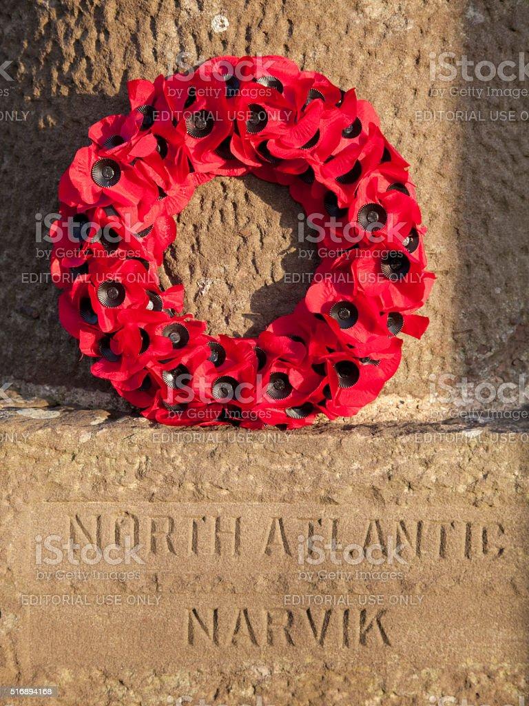 Poppy Wreath at the War Memorial at Stonehaven, Scotland stock photo