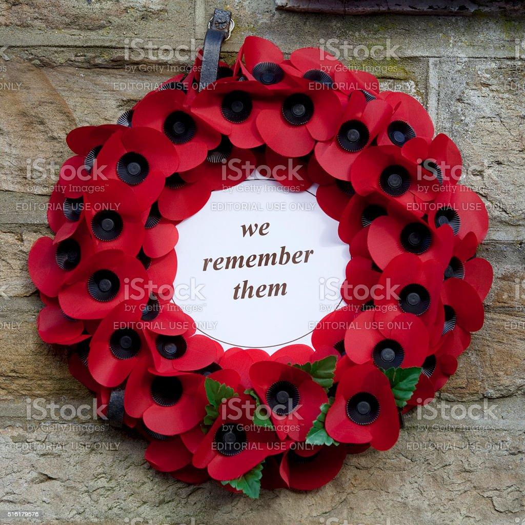 Poppy Wreath at War Memorial stock photo