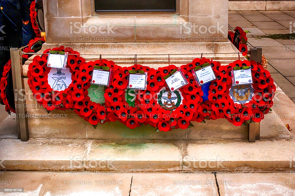 Poppy Wreaths around the Gurkha memorial in London, UK stock photo