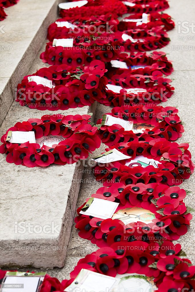 Poppy wreaths for Remembrance day around the Cenotaph in London royalty-free stock photo