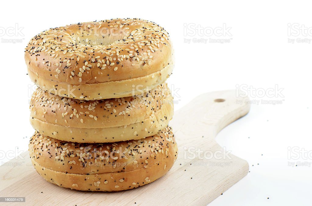 Poppyseed and sesame seed bagels royalty-free stock photo