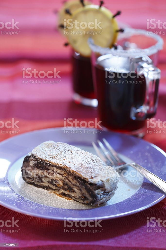 Poppy-seed cake and hot drinks royalty-free stock photo