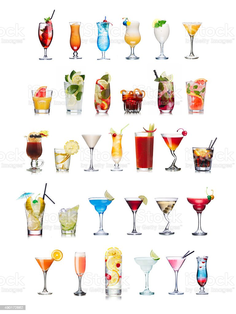 Popular alcoholic cocktails isolated on white stock photo