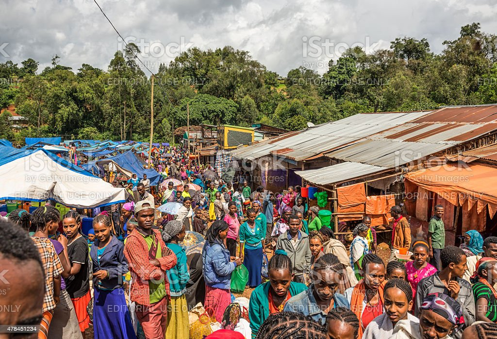 Popular and crowded african market in Jimma, Ethiopia with many...