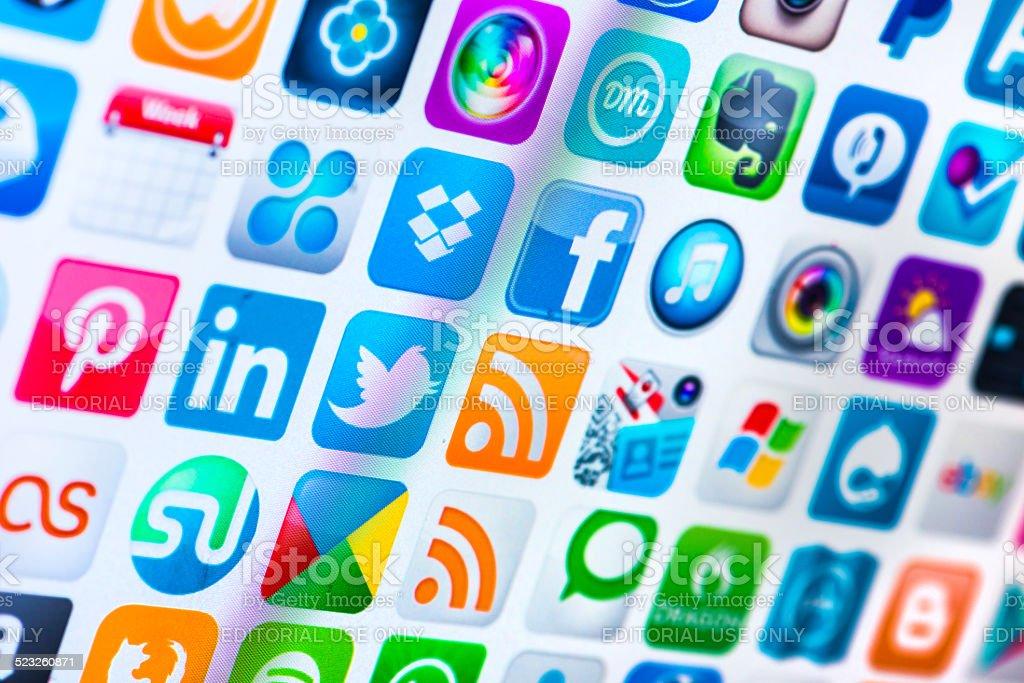popular app icons on screen stock photo