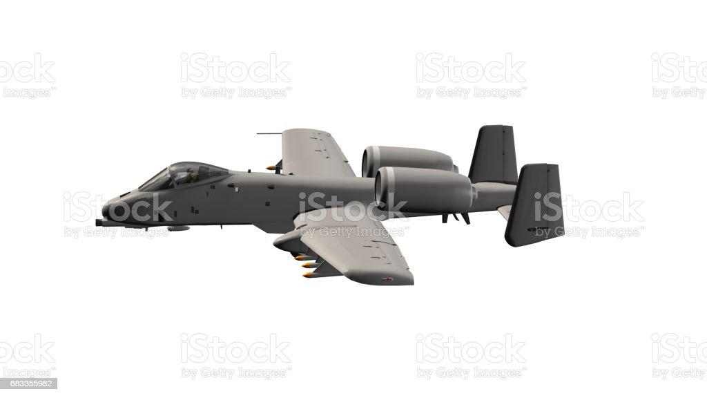 Popular armed US military ground attack aircraft in flight - isolated on white stock photo