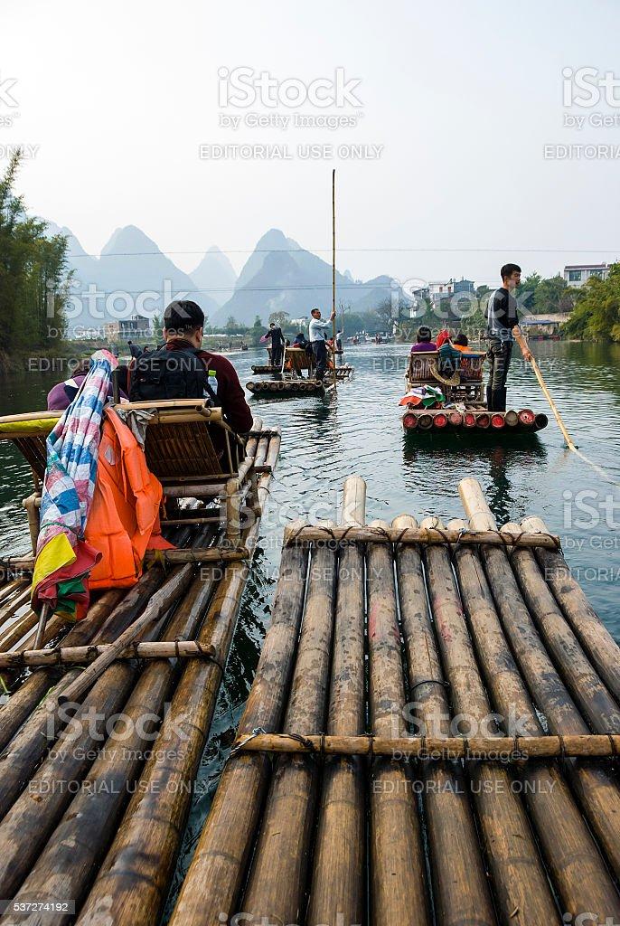 Popular bamboo rafting stock photo