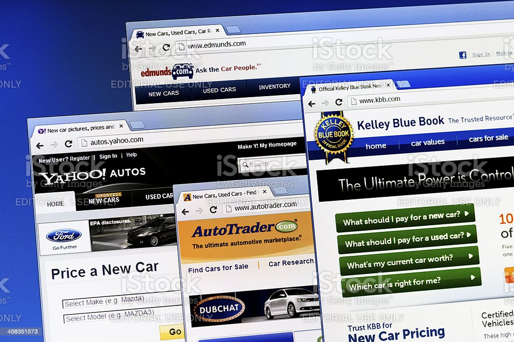 Popular car webpages stock photo