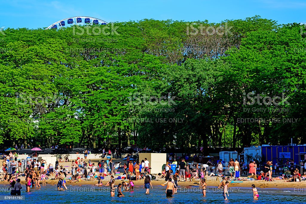 Popular Chicago Beach on sunny day stock photo