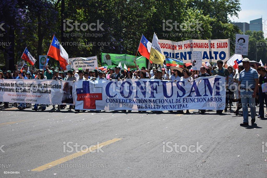 Santiago, Chile - November 15, 2016: Popular demonstration again stock photo