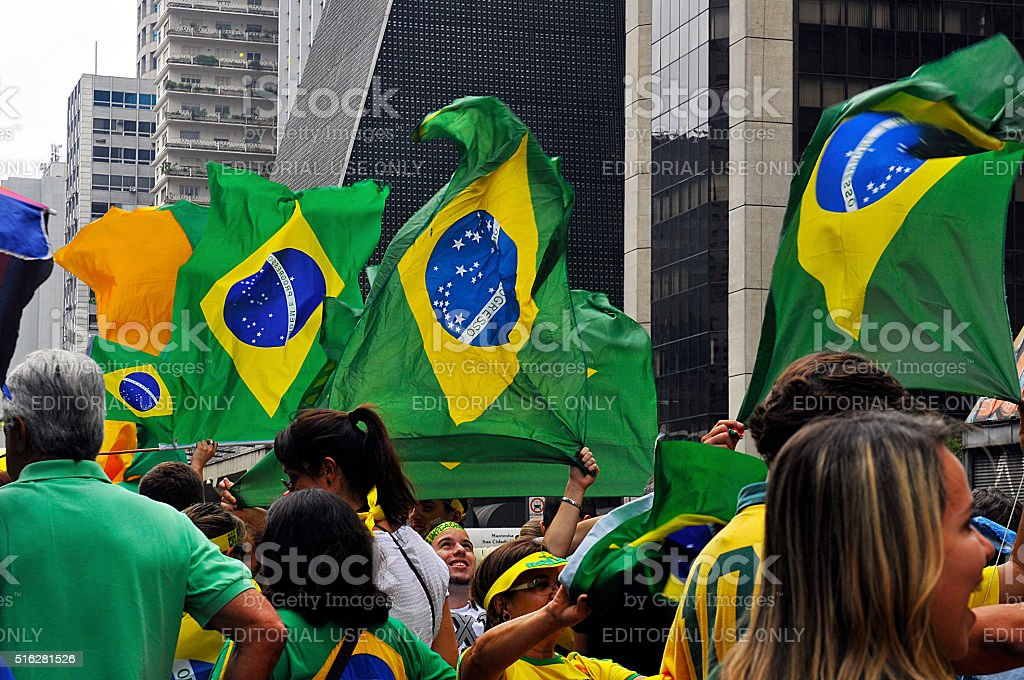Popular demonstration against corruption Day March 13, 2016 stock photo