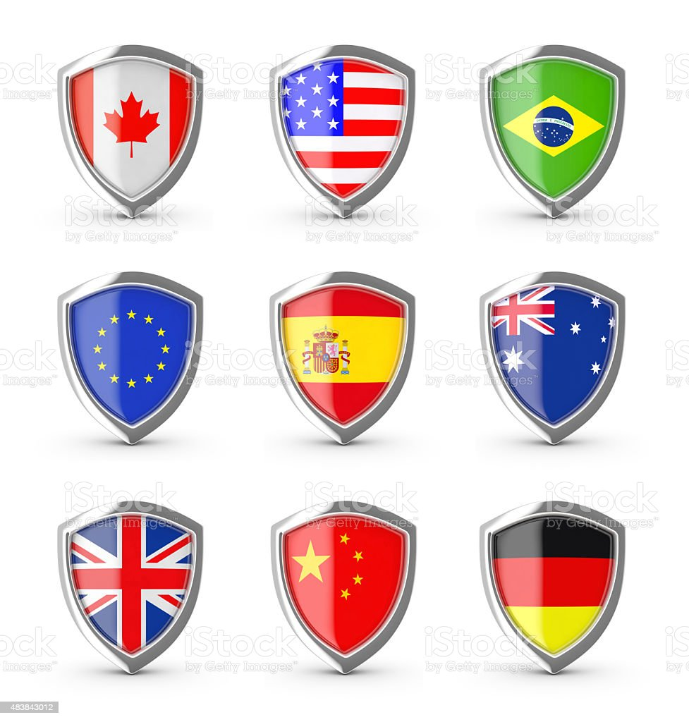 Popular flags collection on the shield. stock photo