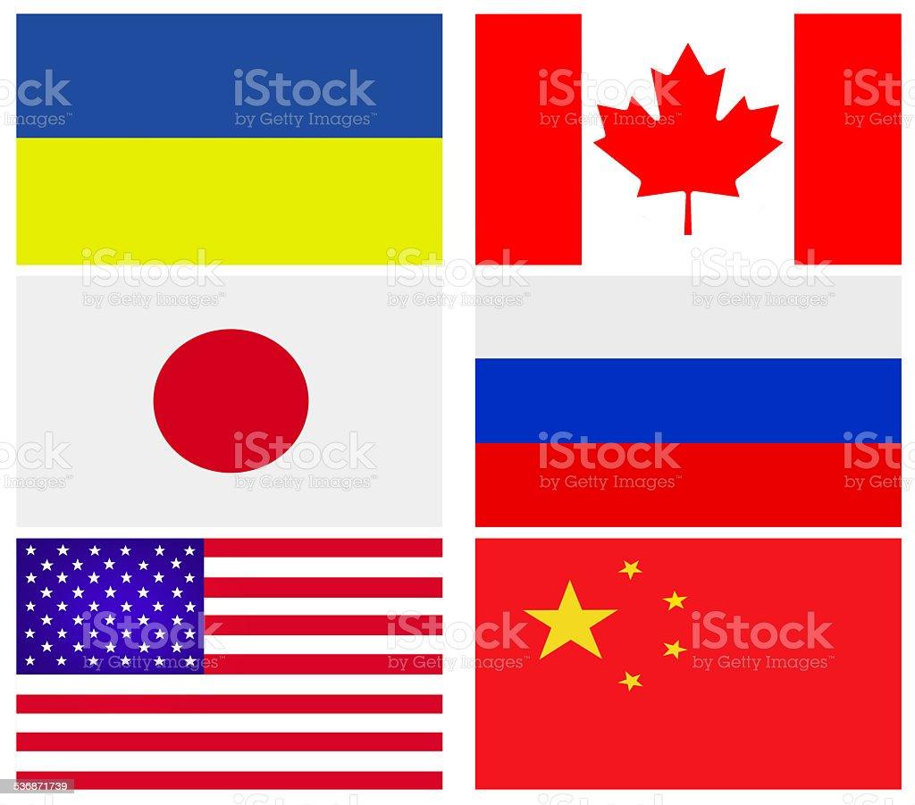 Popular flat flags stock photo