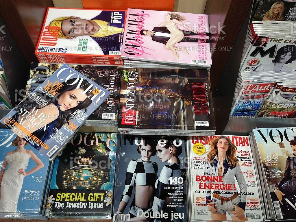 Popular french magazines stock photo