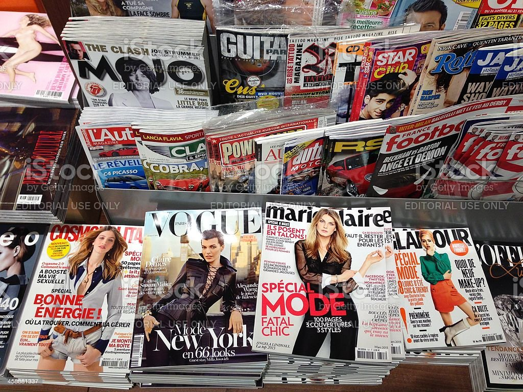Popular french magazines stock photo