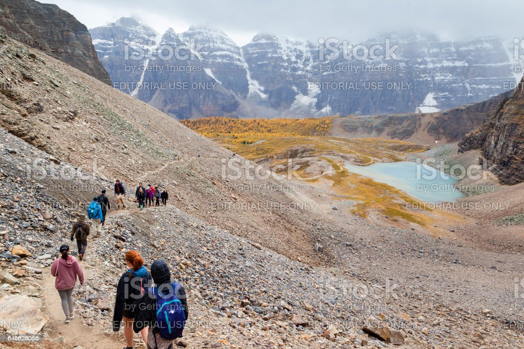 Popular Hiking Trail in the Canadian Rockies stock photo
