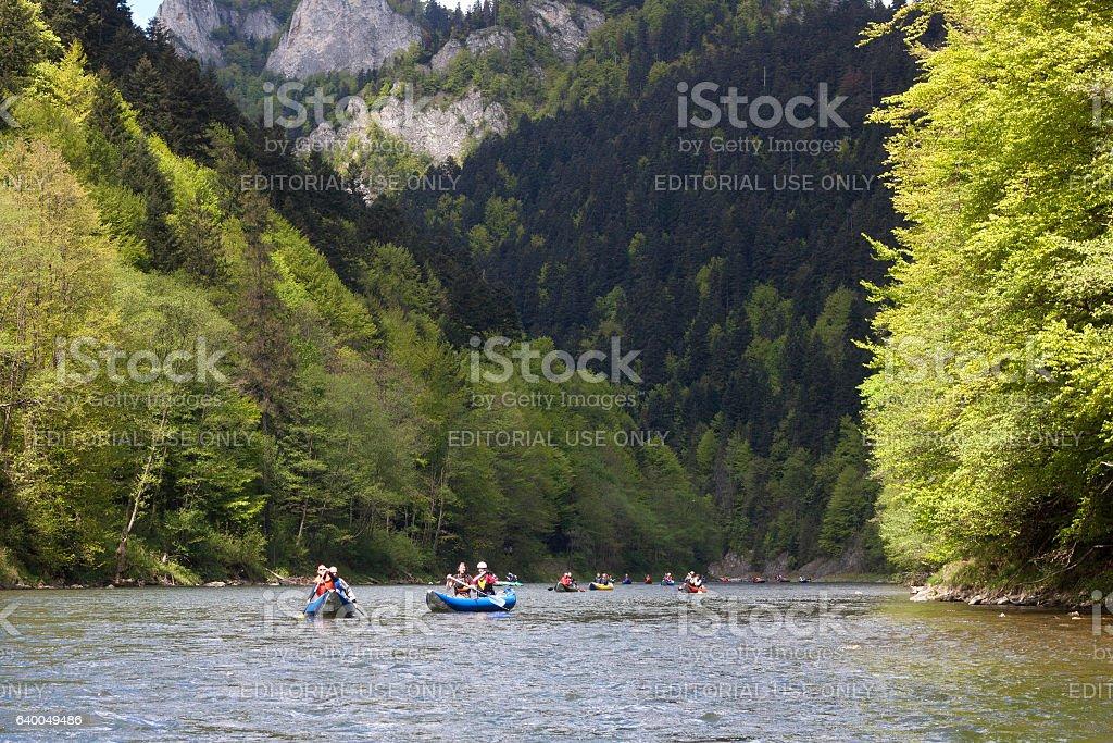 Popular kayaking on the Dunajec river. stock photo