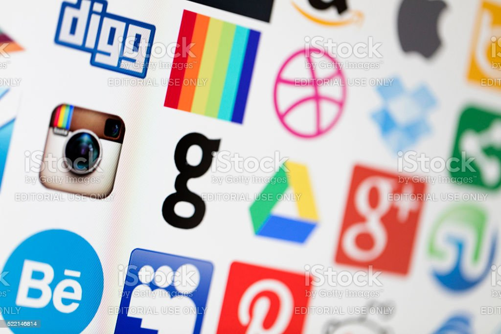 Popular social media and technology icons stock photo