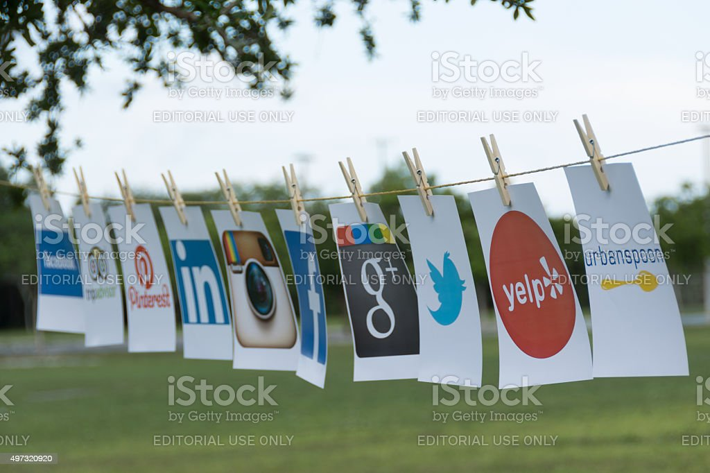 Popular Social Media as  Clotheslines stock photo
