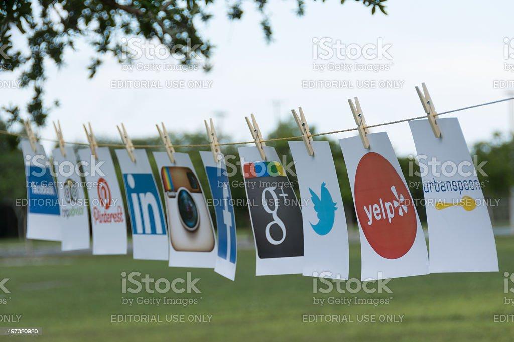 Popular Social Media as  Clothesline stock photo