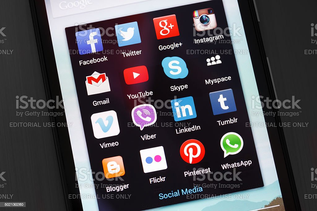 Popular social media icons on android smartphone stock photo