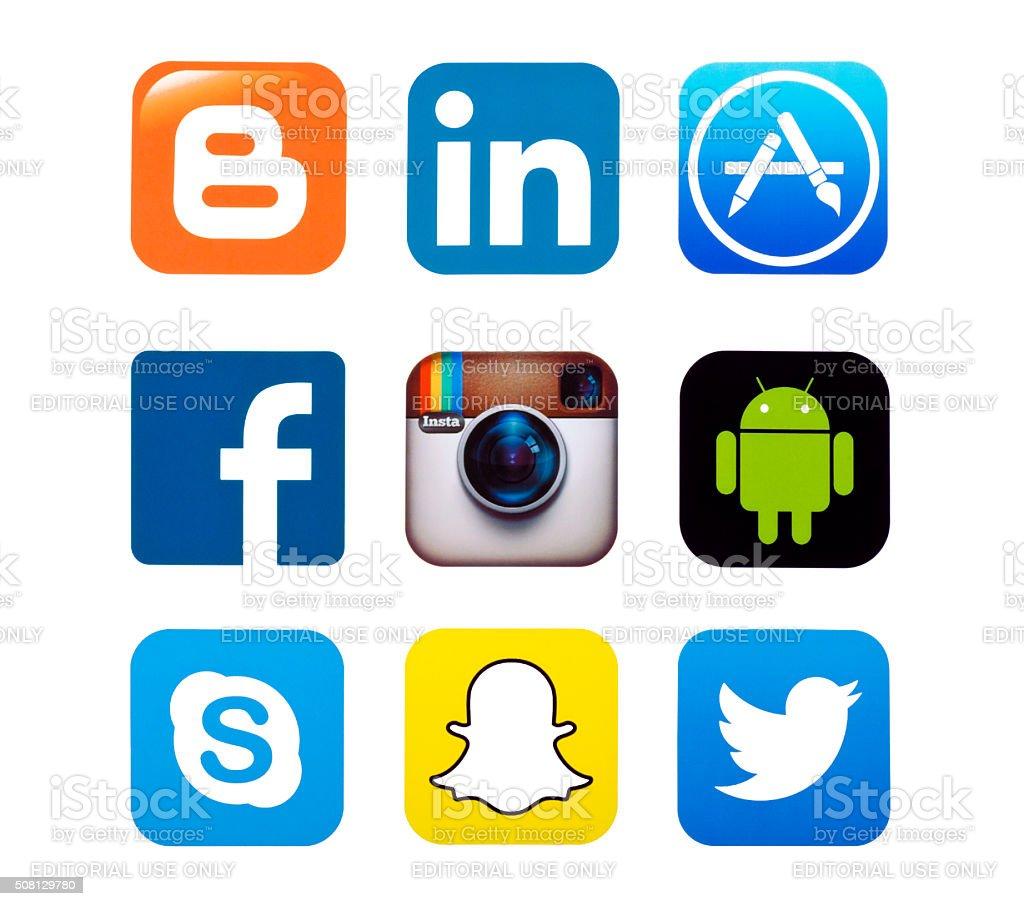 popular social media icons stock photo