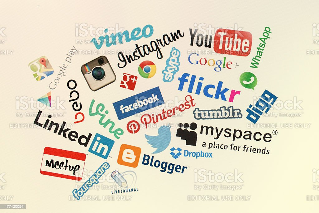 Popular social media website logos on computer screen stock photo