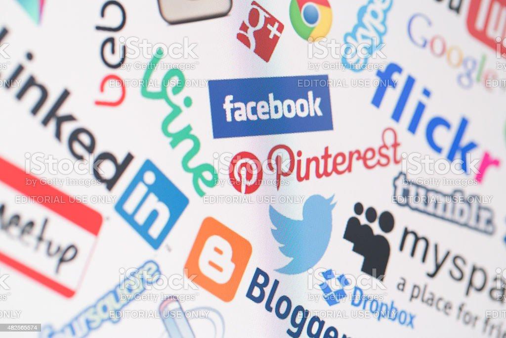 Popular social media website logos on computer screen stock photo