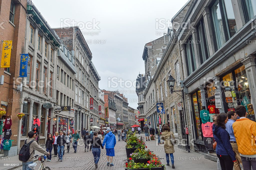 Popular St Paul street in the Old Port. stock photo