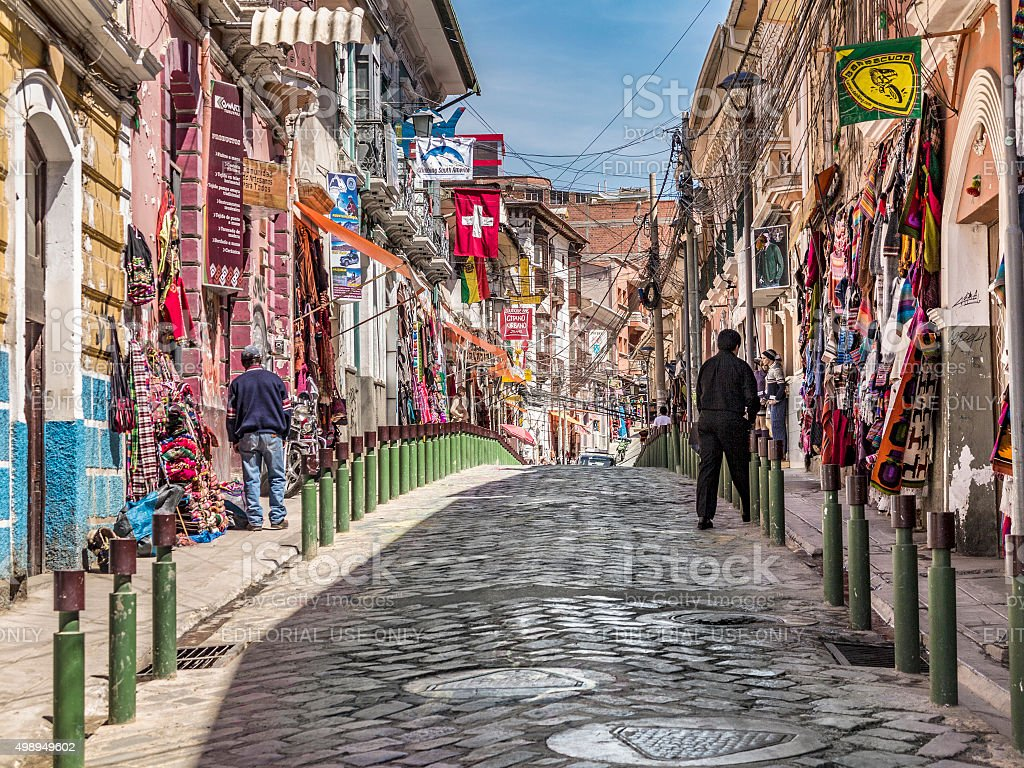 Popular tourist and shopping streets of La Paz stock photo