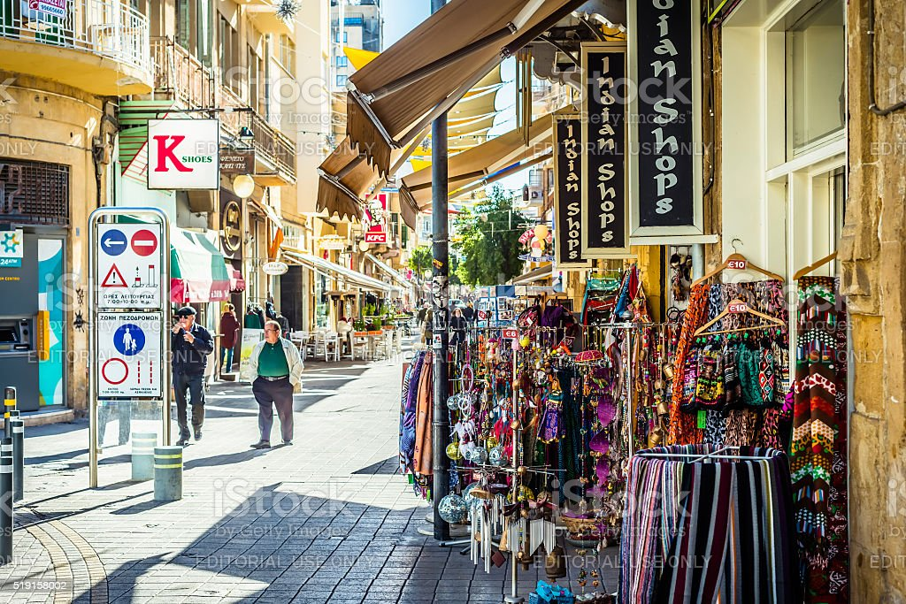 Popular tourist souvenir shops at Ledra street. Nicosia, Cyprus stock photo