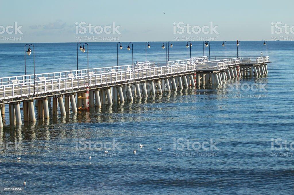 Popular walking sea Gdynia Orlowo Pier in Poland stock photo