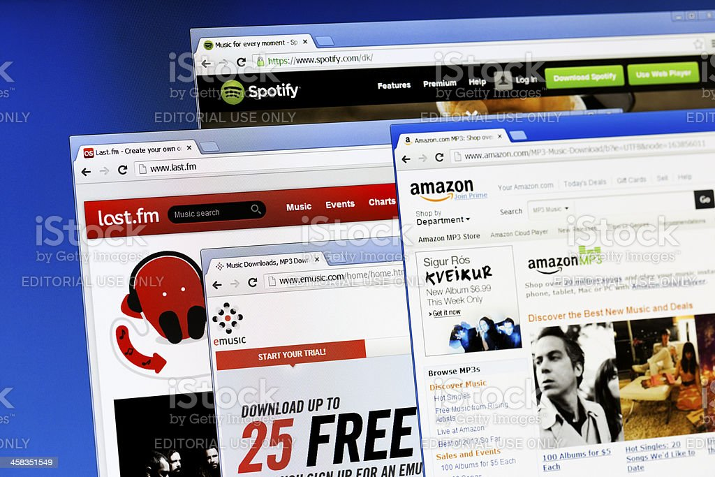 Popular webpages for music download. stock photo