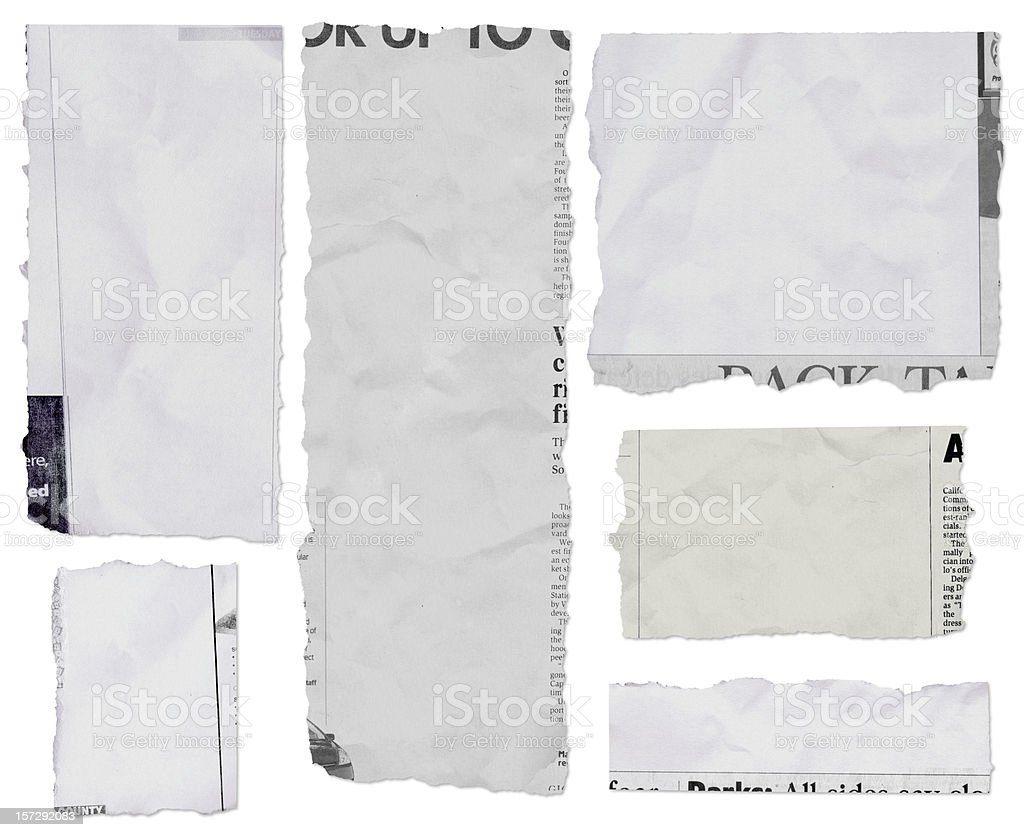 Populated newspaper tears - long royalty-free stock photo