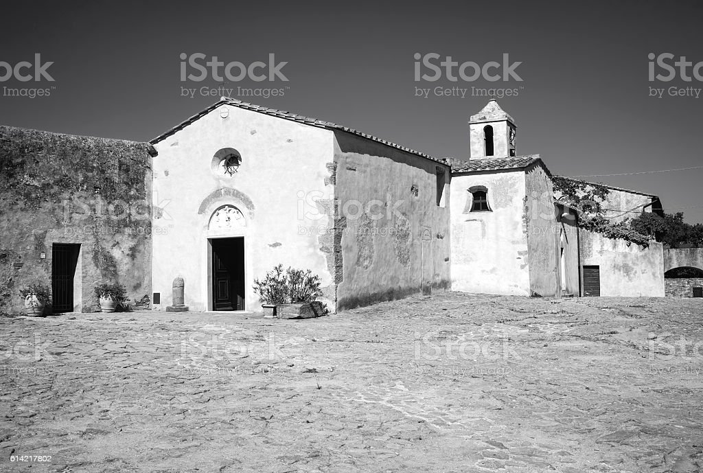 Populonia (Livorno, Tuscany), the church. Black and white photo stock photo